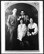 Bernstein with parents, Samuel and Jennie, and sister, Shirley, ca. 1935. Photographer unidentified. (Music Division)