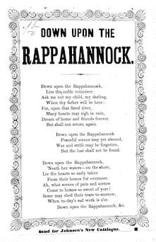 Down upon the Rappahannock. Send for J. H. Johnson's New Catalogue