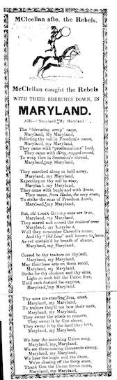 McClellan caught the Rebels with their breeches down, in Maryland. Air.- Maryland, my Maryland