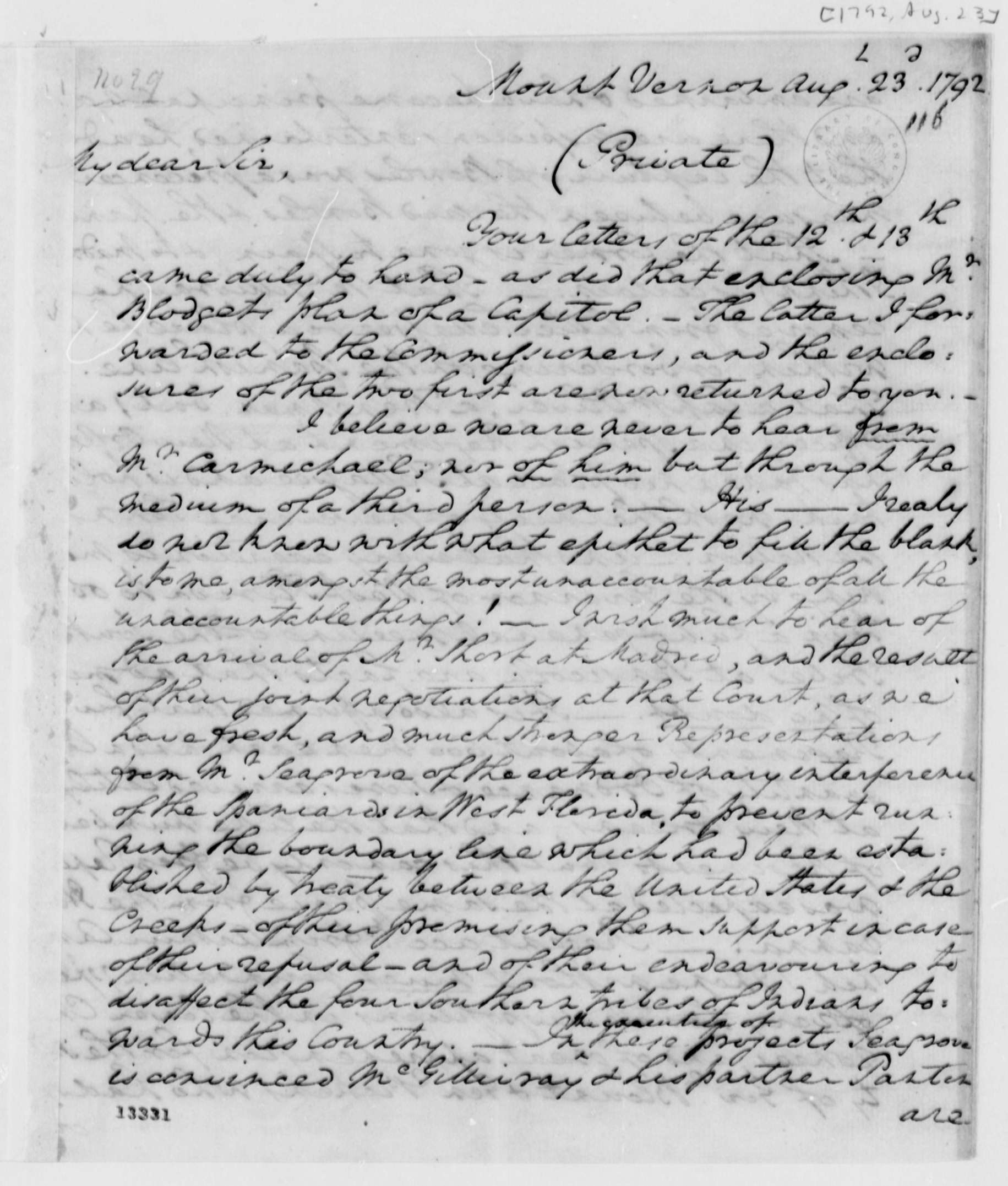 history  the thomas jefferson papers at the library of congress  george washington to thomas jefferson august