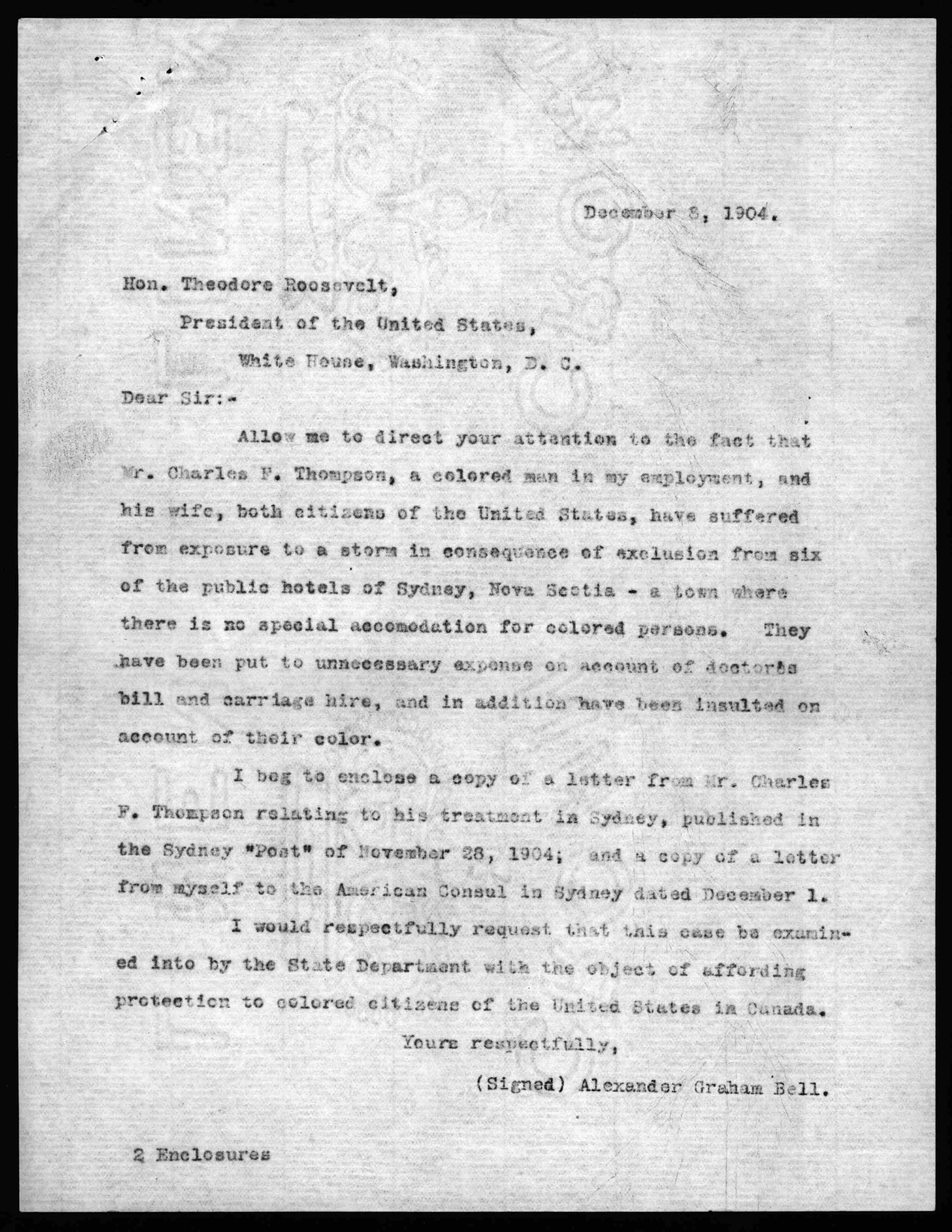 letter from alexander graham bell to theodore roosevelt