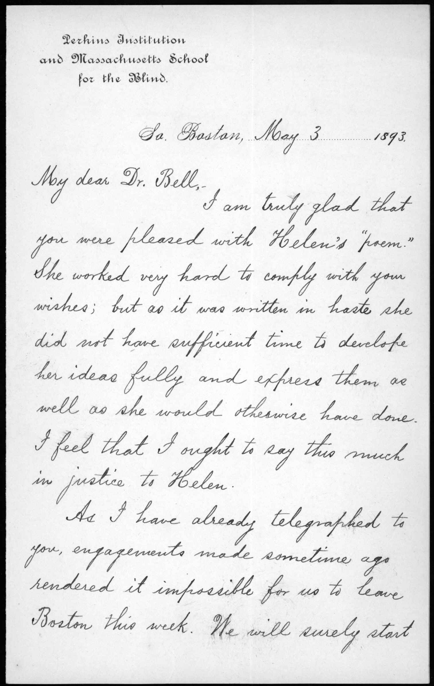 Letter From Annie M  Sullivan To Alexander Graham Bell