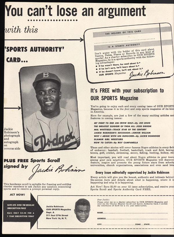 robinson as a dodger to by popular demand jackie  our sports inside cover new york universal publishing and distributing corporation 1953 vol 1 no 2 library of congress manuscript division