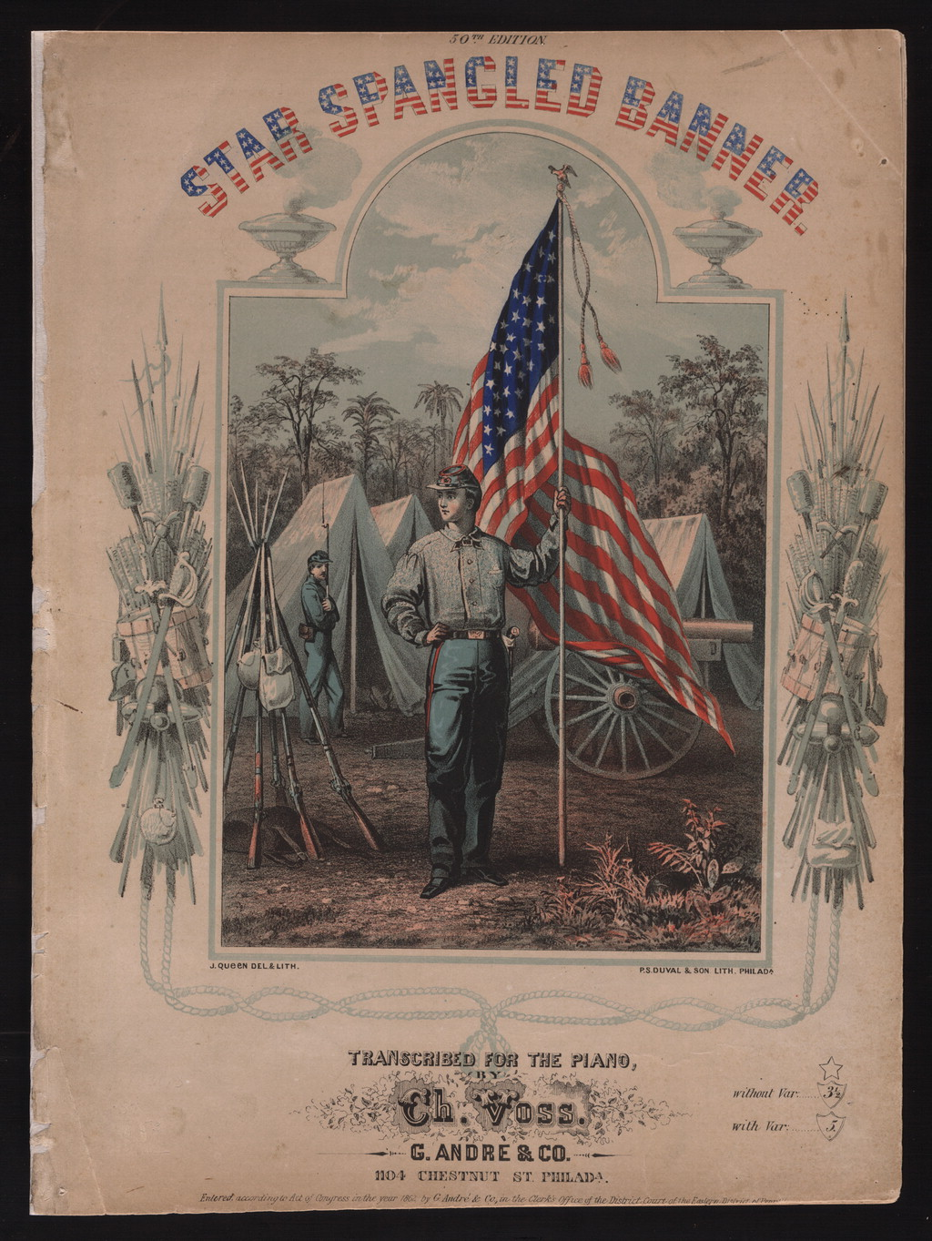 A soldier in camp with tents and a wagon wheel in the background holds the flagpole of a US flag that billows behind him in this colored engraving.
