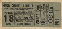 Ticket stub, pasted to page four of [Martha Graham, Forty-Eighth Street Theatre, April 18, 1926] [concert program]