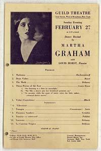 [Martha Graham, Guild Theatre, February 27, 1927] [concert program]