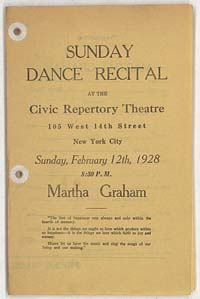 Sunday Dance Recital at the Civic Repertory Theatre 105 West 14th Street New York City Sunday, February 12, 1928