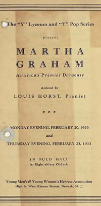 [Martha Graham, Young Men's and Young Women's Hebrew Association, February 20 and 23, 1933]  [concert program]