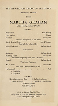 [Martha Graham, Bennington School for the Dance, July 31- August 1, 1936] [concert program]