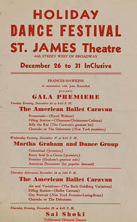 Holiday dance festival / Martha Graham [announcement]