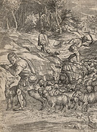 [ Landscape with Flute-playing Shepherd] by Valentin LeFebre, painter and engraver, ca. 1642-ca. 1680 after a drawing by Tiziano Vecelli, called Titian, ca. 1488-1576
