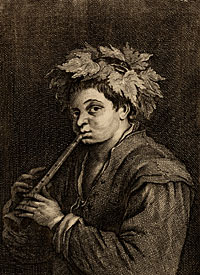 [ Shepherd Boy with Recorder] by Jan van Troyen, engraver and etcher, ca. 1610-after 1670/71 after a painting by Francesco Giambattista da Ponte, called Francesco Giambattista Bassano, the younger, painter, 1549-1592