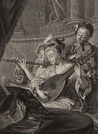 L' Aimable Accord (Pleasant Harmony) by Elisabeth Claire Tardieu, née Tournay, engraver, 1731-1773 after a painting by Jean François de Troy, history painter, portraitist, and etcher, 1679-1752