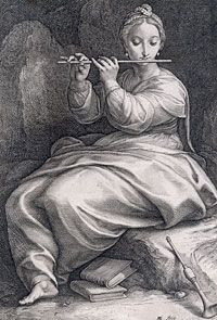 Euterpen calami, et genialis Tibia honestat... (Euterpe the genial reeds and flute honor...) by Hendrik Goltzius, 1592
