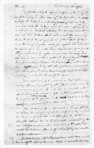 James Madison to Edmund Randolph, July 16, 1782. Partly in Cipher.
