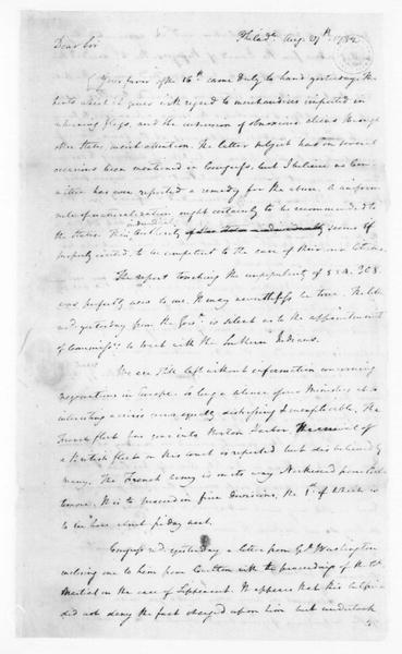 James Madison to Edmund Randolph, August 27, 1782. Partly in Cipher.