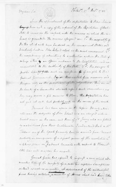 James Madison to Edmund Randolph, December 17, 1782. Partly in Cipher.