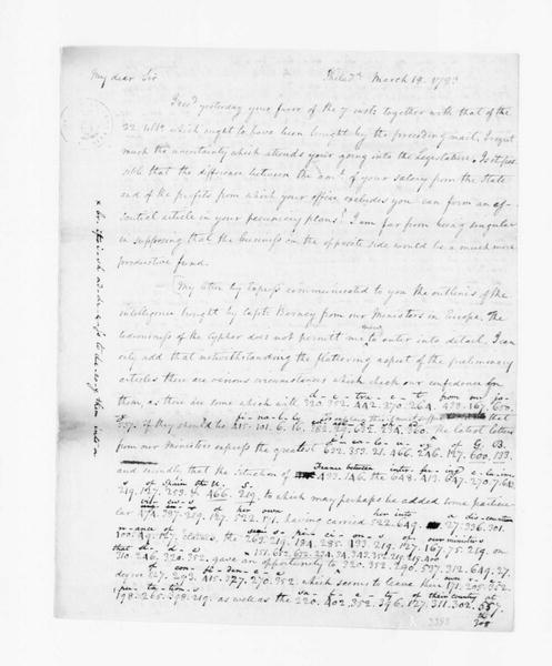 James Madison to Edmund Randolph, March 18, 1783. Partly in Cipher.