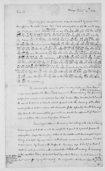 James Madison to Thomas Jefferson, December 10, 1783. Partly in Cipher.