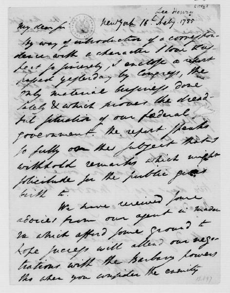 Henry Lee to James Madison, February 16, 1786.