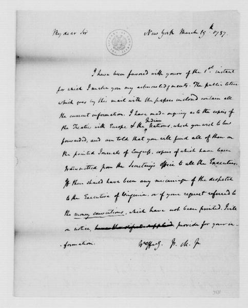 James Madison to Edmund Randolph, March 19, 1787.