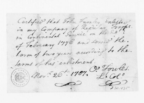O. Towles , November 26, 1787. Certification of Service of J. Turnley.