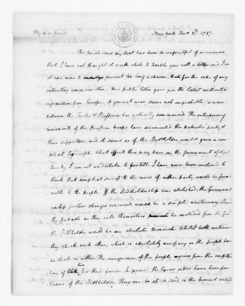 James Madison to Edmund Randolph, December 2, 1787. Partly in Cipher.