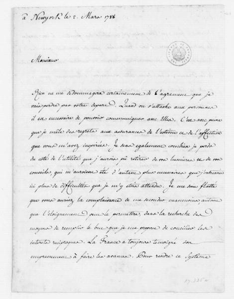 Moustier to James Madison, March 2, 1788. In French, with Translation.