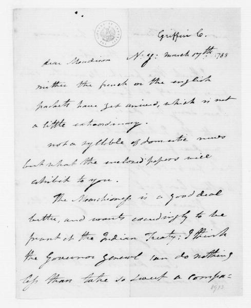 Cyrus Griffin to James Madison, March 17, 1788.