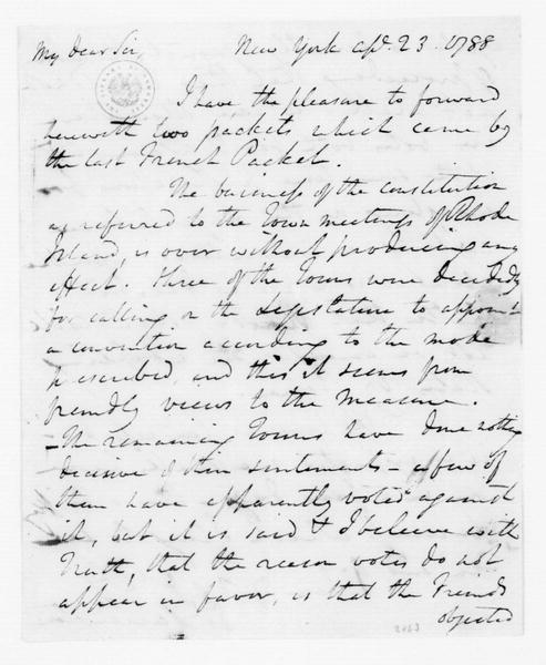 Edward Carrington to James Madison, April 23, 1788.