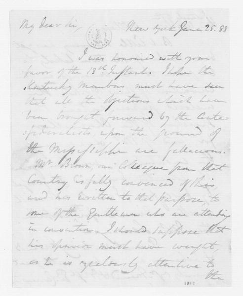 Edward Carrington to James Madison, June 25, 1788.