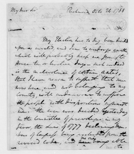 Edward Carrington to James Madison, October 24, 1788.