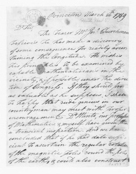 Samuel Stanhope Smith to James Madison, March 27, 1789.