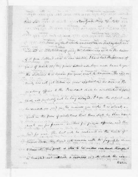 James Madison to Thomas Jefferson, May 27, 1789. Partly in Cipher.