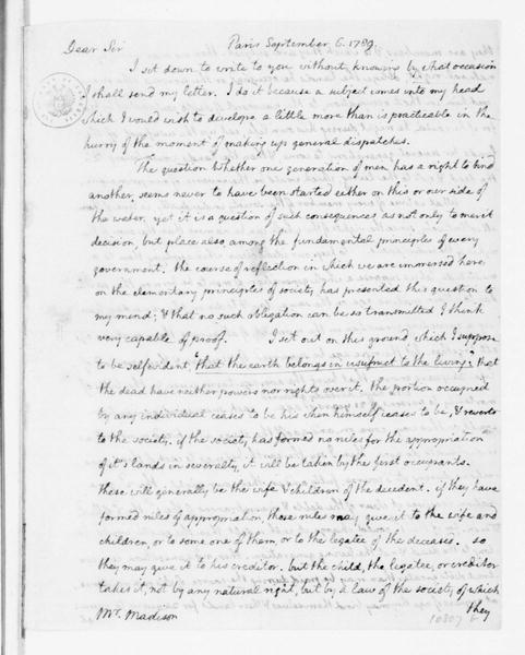 Microfilm copy of Jefferson's letter of 6 September, 1789, to James Madison
