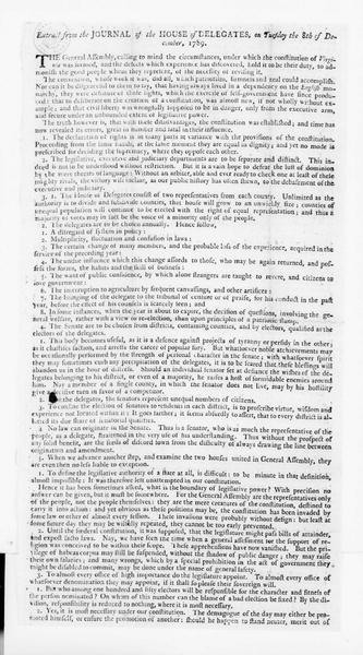 Virginia House of Delegates , December 8, 1789. Broadside Extract.