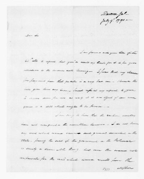 John Dawson to James Madison, July 4, 1790.