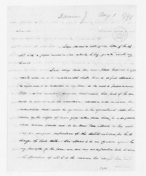 John Dawson to James Madison, August 1, 1790.