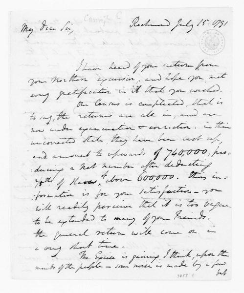 Edward Carrington to James Madison, July 15, 1791. with Power of Attorney.