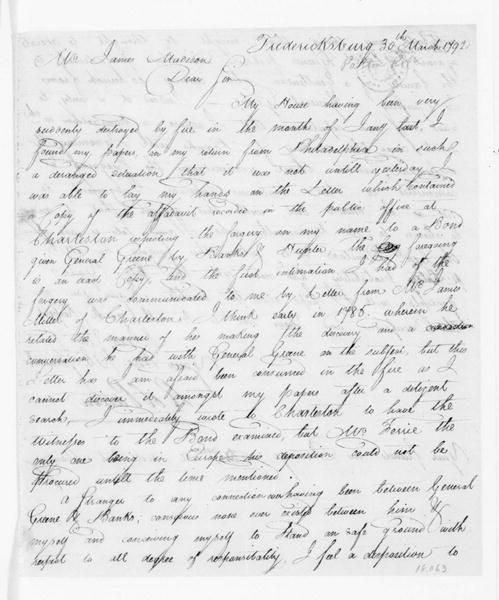 Robert Patton to James Madison, March 30, 1792. With John Ferrie Deposition.