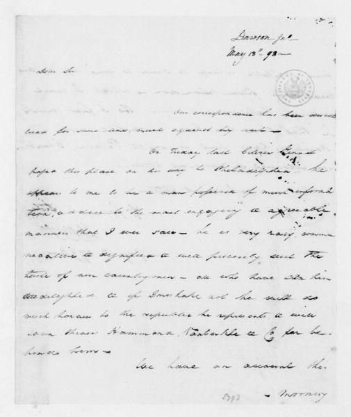 John Dawson to James Madison, May 13, 1793.