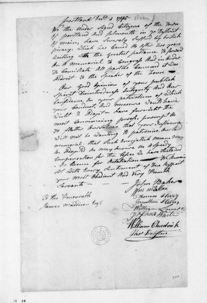 John Baker and others to James Madison, December 2, 1795. Petition signed by Portland, Maine citizens.