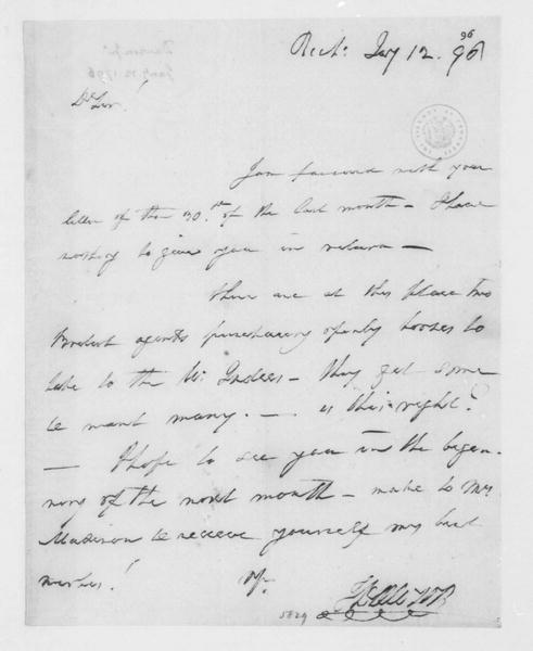 John Dawson to James Madison, January 12, 1796.