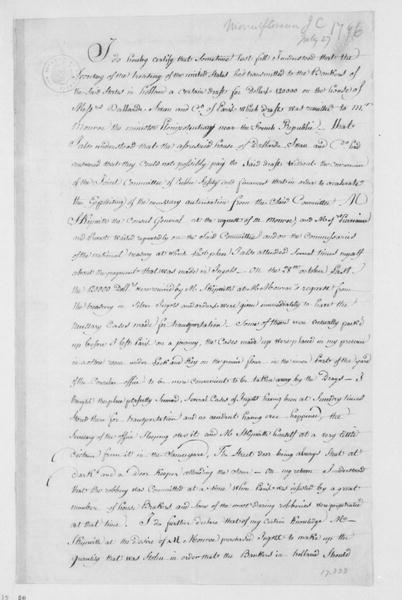 James C. Mountflorence, July 27, 1796. In French, Police Report regarding the Nov. 22, 1795 robbery at the American consulate.