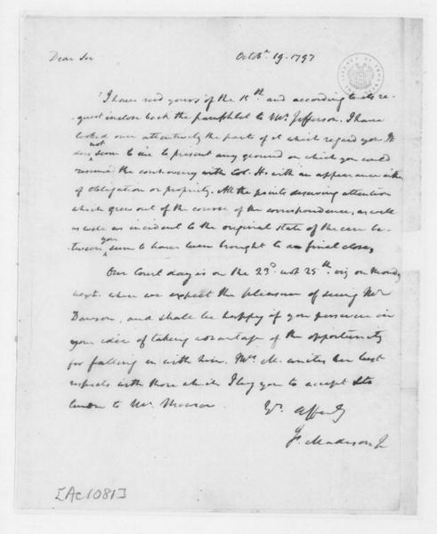 James Madison to James Monroe, October 19, 1797.