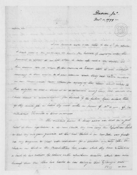 John Dawson to James Madison, December 12, 1799.