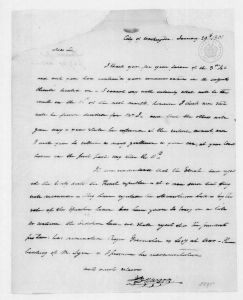 John Dawson to James Madison, January 29, 1801.