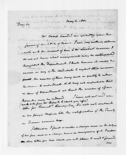 James Madison to James Monroe, May 6, 1801.