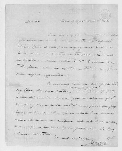 John Dawson to James Madison, March 8, 1802. With Travel Expenses.