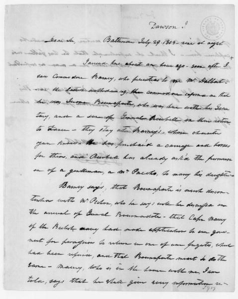 John Dawson to James Madison, July 29, 1803.